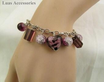 Purple Bracelet, Cluster Bracelet, Charm Bracelet, Glass Beads Bracelet, Glass Jewelry, Handcrafted, Lampwork Glass Bracelet, Glass Bracelet