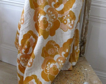 Vintage fabric - flower power fabric, curtain fabric from the 70's, retro curtain fabric