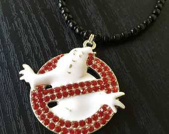 Ghostbusters Necklace, Ghosthead Necklace, Ghostbuster Jewelry, Ghostbuster Necklace, No Ghost Necklace, Ghostbusters, Nerdy Necklace