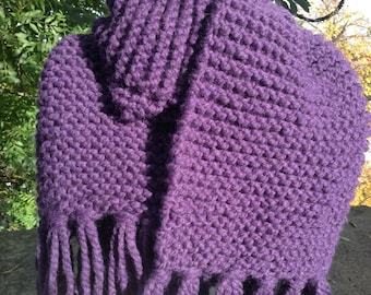 Super chunky hand knitted oversized scarf in deep purple