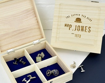 Personalised Dapper Dad Club Cufflink Box - Fathers Day Gift - Gift For Dad - Father Gift - Gift For New Dad - Men's Jewellery [PCUFFBX-002]