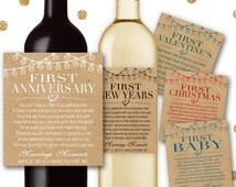 Custom Marriage Milestones Wine Labels & Champagne Labels Kraft Paper Rustic Wedding Gift Bridal Shower Poems First Anniversary - Item #MM6