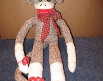 One of a kind signed Handmade Sock Monkey 18 inches tall stuffed