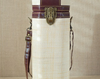 Very Cool Wine Carrier - Woven Strw with Padded Lining