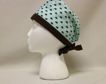 Mint Green Poop Print Surgical Scrub Cap Chemo Dental Hat