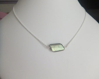 Labradorite Contemporary Step Cut Faceted Necklace In Sterling Silver.