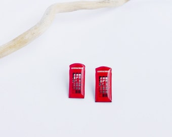 London phone booth earrings / London studs / Red phone booth studs / Red telephone booth studs / London jewelry / London gift idea