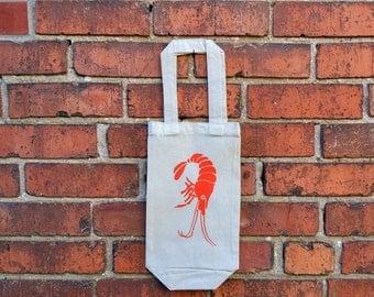 Wine Bag ,Shrimp,  Cotton, Canvas, Reusable Bag, Eco Friendly Bag