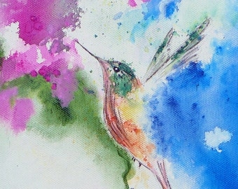 ACEO Hummingbird Original Print, Artist Trading Card, Miniature Collectible Print, Miniature Illustration, Matted ACEO Print, Garden Art