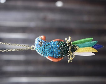 Statement Parrot Necklace, Tiki Room Necklace, Colorful Rhinestone Parrot Necklace, Large Parrot, Bird Toucan Pendant, Long Necklace
