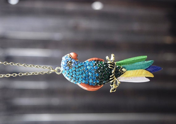 "Statement Parrot Necklace, Tiki Room Necklace, Colorful Rhinestone Parrot Necklace, Large Parrot, Bird Toucan Pendant, Long Necklace, 30"""