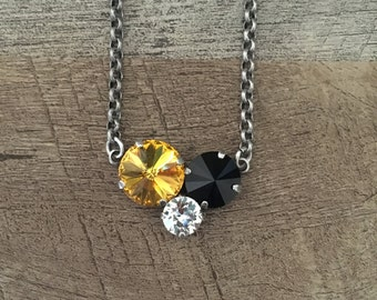 Swarovski Crystal Tri Three Stone Necklace Pittsburgh Steelers Penguins Pirates Black and Gold