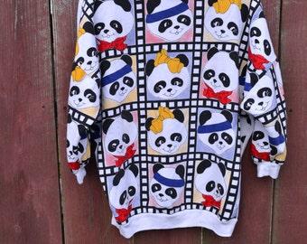 1980s Panda Sweatshirt Panda Animal Print Aerobic Exercise Bears Crew Neck Adorable Pandas Ridiculously CUTE Fun Panda Work Out Glamor Panda