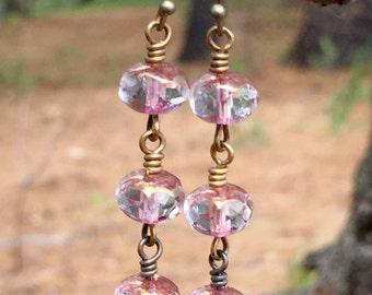 Pink Czech Glass Earrings, Czech Glass  Dangle Earrings, Pink Beaded Dangle Earrings, Czech Glass Jewelry, Pink Jewelry