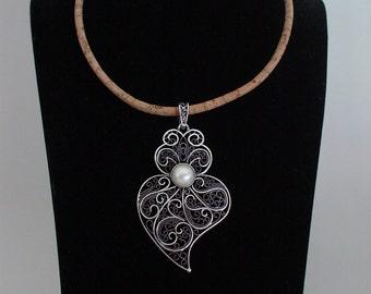 Portuguese necklace, viana's heart necklace, portuguese filigree, cork necklace with filigree pendant, portuguese jewelry