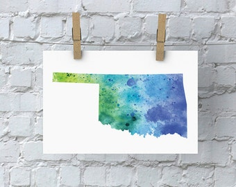 Oklahoma Watercolor Map - Giclée Print of Hand Painted Original Art - 5 Colors to Choose From