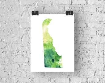 Delaware Watercolor Map - Giclée Print of Hand Painted Original Art - 5 Colors to Choose From