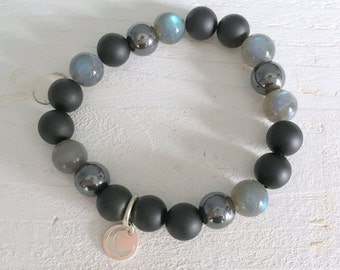 Beaded bracelet with labradorite, matte onyx, hematite and sterling silver