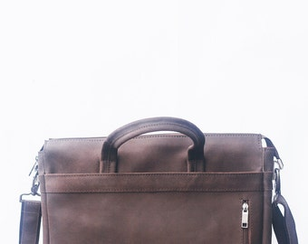 Brown Weekend Messenger bag for man. Lifetime full grain leather bag. Sturdy pure leather!  Mens leather messenger bag for man briefbag