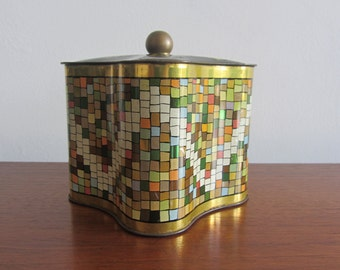 Heller Metal Tin Box - Geometric Decoration with Golden Stripes, Squares with Pale Colors and a Cover with a Golden Handle - 1950s