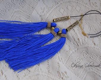Blue gold necklace Multi tassel necklace Sapphirine necklace