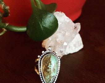 Sterling Silver Candelaria Mine Green Turquoise Thunderbird Ring