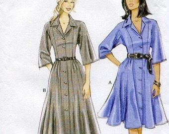 FREE US SHIP Vogue 8785 Kimono Sleeve Shirtdress Dress Out of Print  Size 8-16 16-24 Bust 31 32 34 36 38 40 42 44 46 New Plus