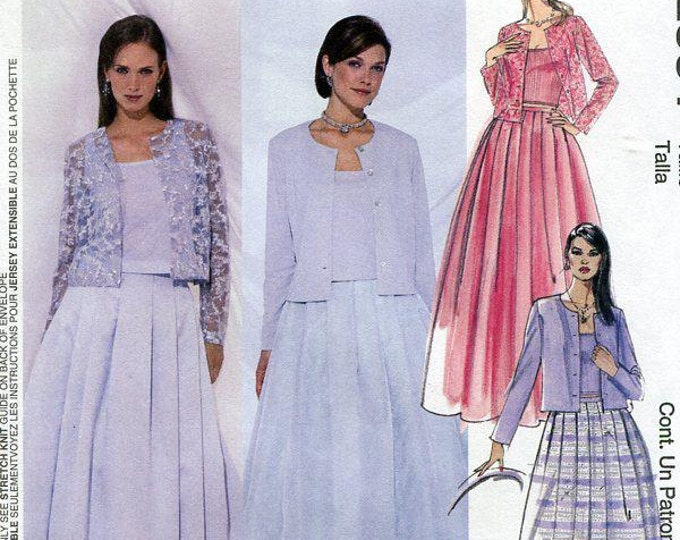 Free Us Ship McCall's 2534 Evening Elegance Formal Dress Gown Jacket Size 10 12 14 Bust 32 34 36 Sewing Pattern Factory Folded Prom Tulle