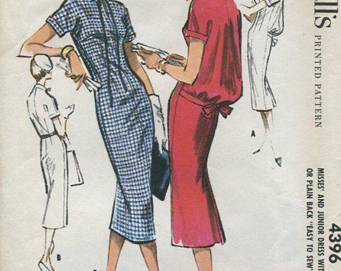 FREE US SHIP McCall's 4396 Retro 1950's 1957 Blouson Dress 12 Bust 32 Original Vintage Sewing Pattern