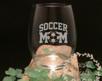 Etched Stemless Wine Glass | Soccer Mom Wine Glass | Stemless Wine Glass Soccer Mom Glass | Soccer Etched Soccer Mom Glass | Mom Gift Mom