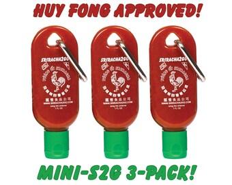 Mini Sriracha Keychain 3-Pack! Each keychain is 1oz. Perfect For Traveling! (Empty)
