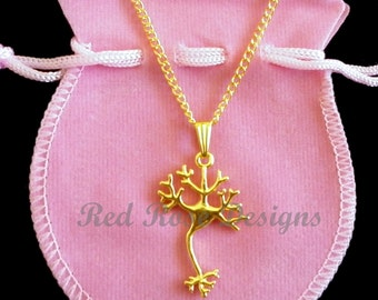 Neuron, Cell, Science, Chemistry, Gold Plated, Pretty, Gift, Charm, Pendant Necklace