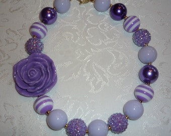 Purple Rose Big Chunky Bubble Gum Bead Necklace for Girls and Toddlers