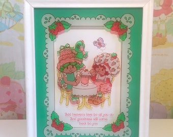 1979 Strawberry Shortcake Lulu's Glass Painted Picture in White Wooden Frame