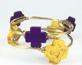 Purple Cross Wire Wrapped Bangle - Wire Jewelry - Gift Under 10  - Christian Bracelet - Cross Jewelry  - Custom - Courtney And Courtnie