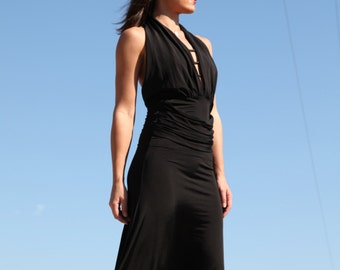 Vintage  black asymmetric elastic  dress.size s/m