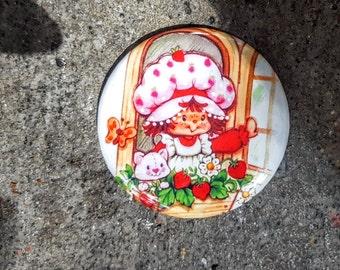 "Magnet or Pinback 2.25"" 58mm Strawberry Shortcake 80s Retro Magnet"