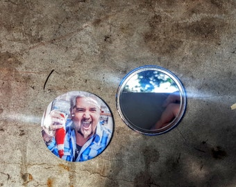 Guy Fieri Ticket to Flavortown 2.25 inch 58MM purse pocket hand button mirror