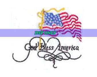God Bless America and USA flag Embroidery Design - Instant Digital Download DST ONLY