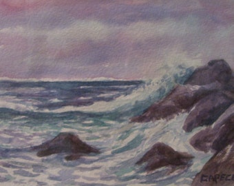 Morning Waves,11x14 Watercolor,White Mat,ONE OF A KIND,Not a Print