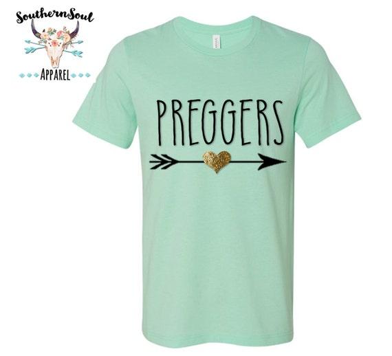 Preggers Arrow Gold GLITTER Heart Unisex T Shirt,  Southern T Shirt, Pregnant Shirt, Pregnancy Shirt, Mom Shirt, Boutique Shirt