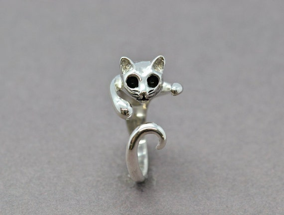 sterling silver cat ring cat wrap ring modern cat ring cat