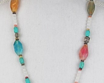 Necklace Agates with Turquoise