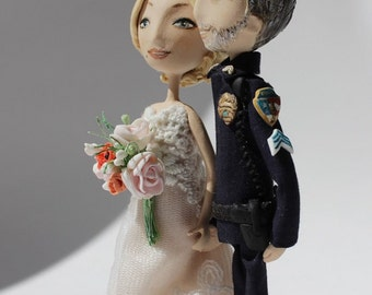Police wedding cake topper Custom Handmade,Personalised wedding cake topper bride and groom