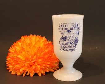 Vintage Milk Glass Mug - Last Place Champ - Next Year I'll Do Better