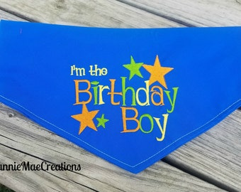 Embroidered Birthday Boy Dog Bandana