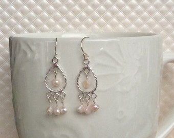 Pink Freshwater Pearl Chandelier Earrings