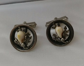 Cufflinks silver 800 antique Grandeln costume jewelry oak leaves MS130