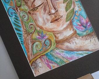 Buddha painting, buddha art, spiritual art, buddha wall art, buddha decor, therapy room, yoga room, Buddha decor, spiritual art, Buddha