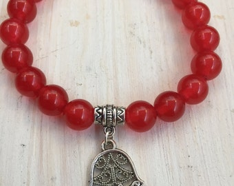 Stretch Carnelian Beaded Hamsa Bracelet, Stretch Gemstone Bracelet, Hamsa Bracelet, Beaded Bracelet, Yoga Bracelet, UK seller